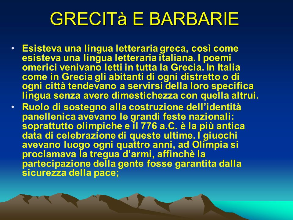 GRECITà E BARBARIE