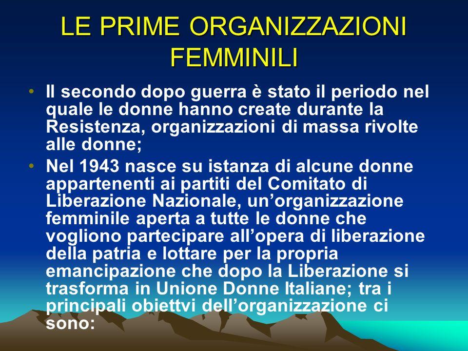 LE PRIME ORGANIZZAZIONI FEMMINILI
