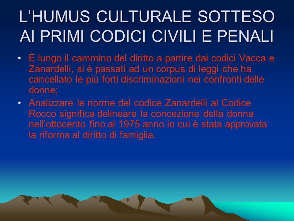 L'HUMUS CULTURALE SOTTESO AI PRIMI CODICI CIVILI E PENALI