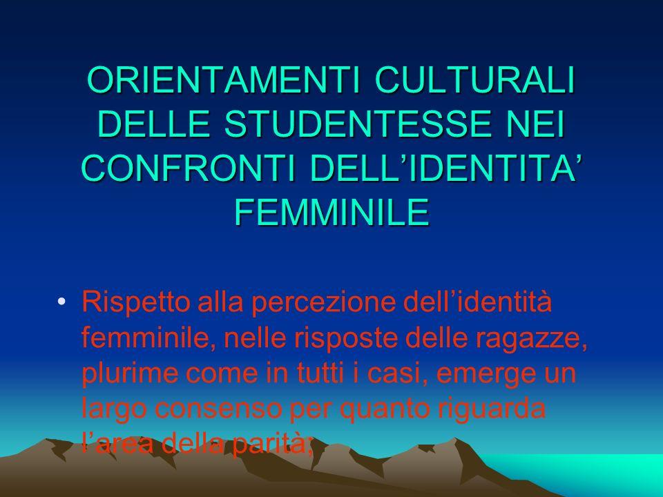 ORIENTAMENTI CULTURALI DELLE STUDENTESSE NEI CONFRONTI DELL'IDENTITA' FEMMINILE