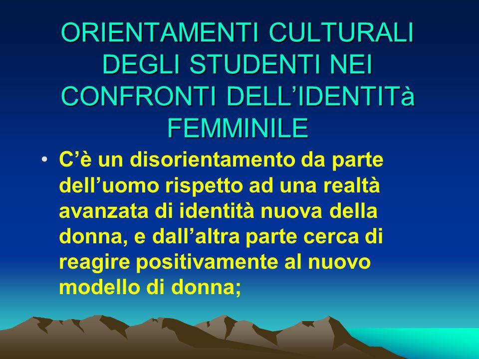 ORIENTAMENTI CULTURALI DEGLI STUDENTI NEI CONFRONTI DELL'IDENTITà FEMMINILE