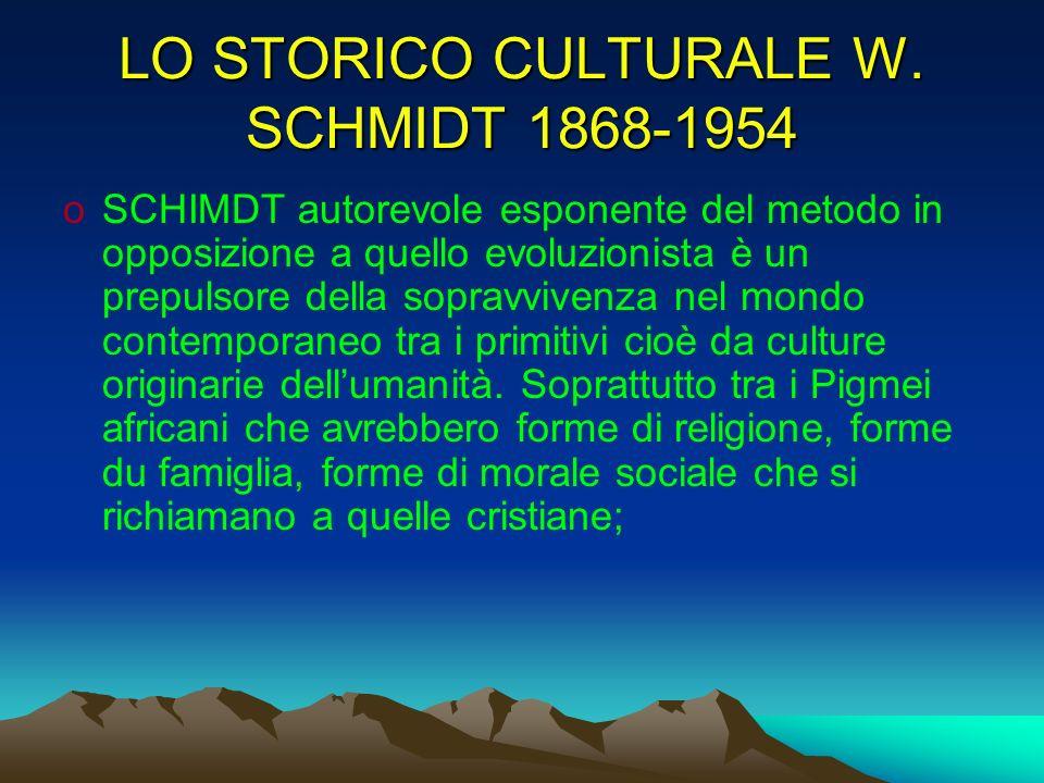 LO STORICO CULTURALE W. SCHMIDT 1868-1954