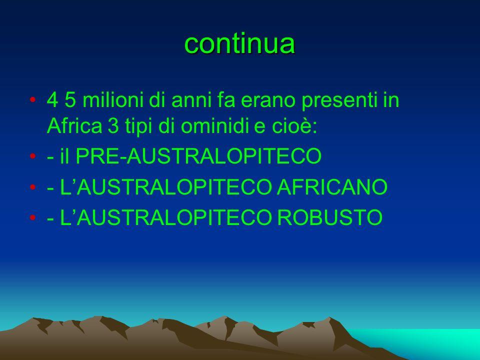 continua 4 5 milioni di anni fa erano presenti in Africa 3 tipi di ominidi e cioè: - il PRE-AUSTRALOPITECO.