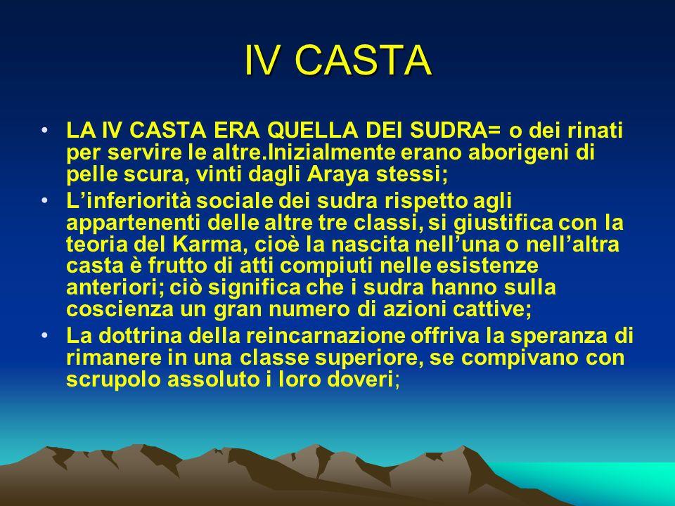 IV CASTA LA IV CASTA ERA QUELLA DEI SUDRA= o dei rinati per servire le altre.Inizialmente erano aborigeni di pelle scura, vinti dagli Araya stessi;