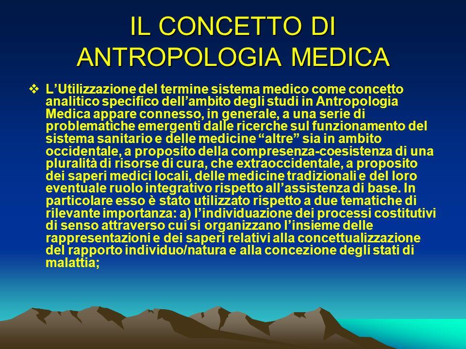 IL CONCETTO DI ANTROPOLOGIA MEDICA