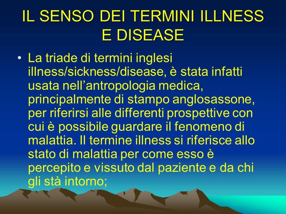 IL SENSO DEI TERMINI ILLNESS E DISEASE