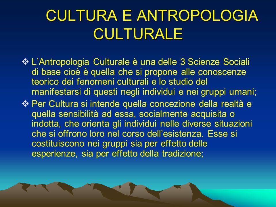 CULTURA E ANTROPOLOGIA CULTURALE