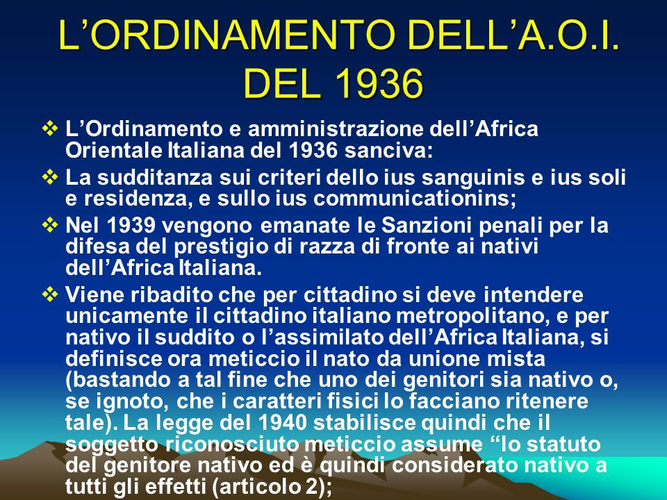 L'ORDINAMENTO DELL'A.O.I. DEL 1936