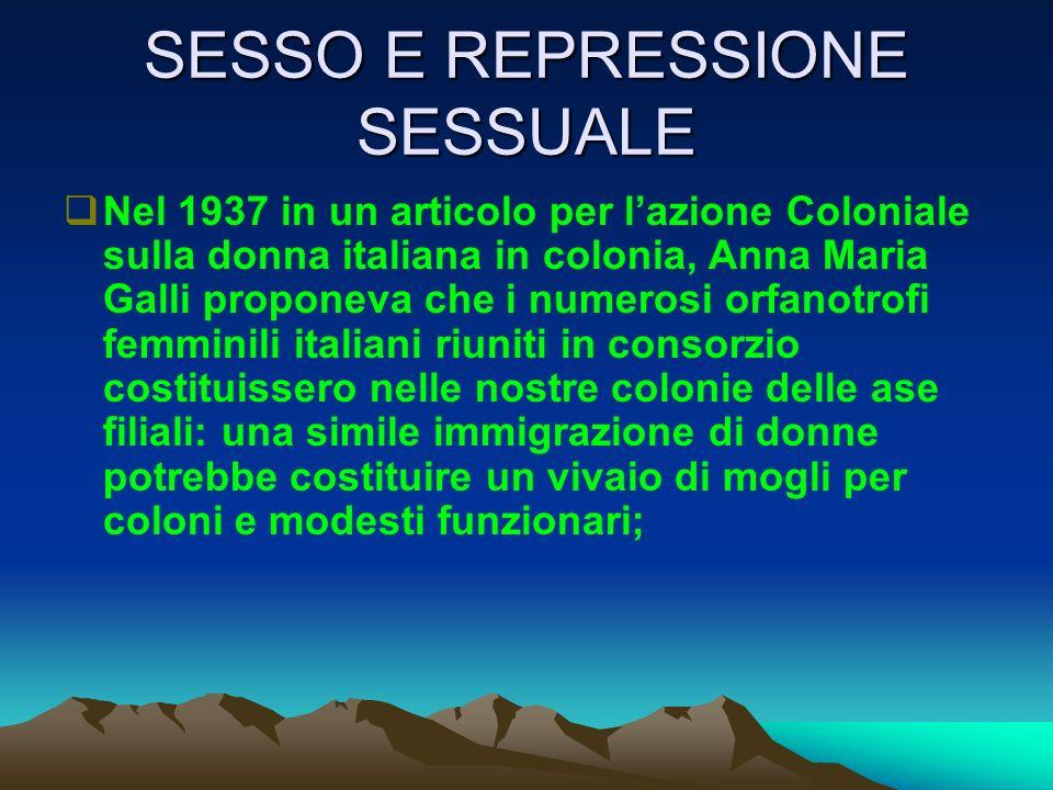 SESSO E REPRESSIONE SESSUALE