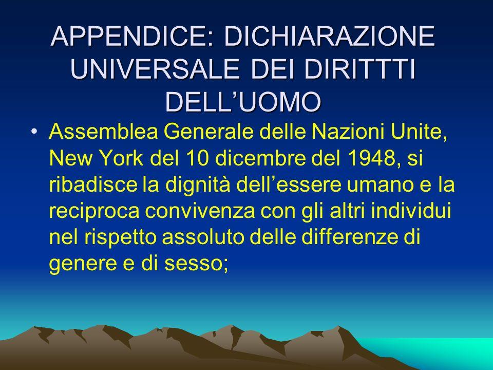 APPENDICE: DICHIARAZIONE UNIVERSALE DEI DIRITTTI DELL'UOMO