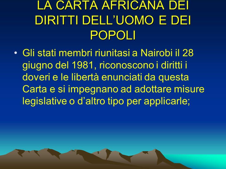 LA CARTA AFRICANA DEI DIRITTI DELL'UOMO E DEI POPOLI