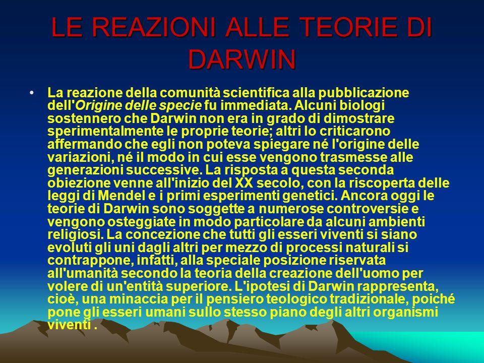 LE REAZIONI ALLE TEORIE DI DARWIN