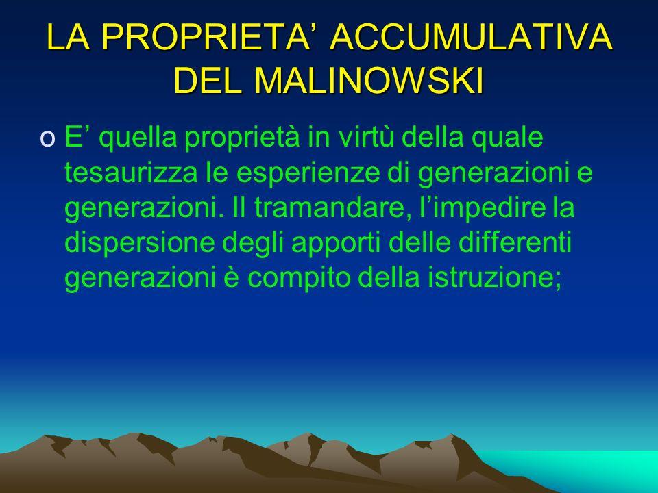 LA PROPRIETA' ACCUMULATIVA DEL MALINOWSKI