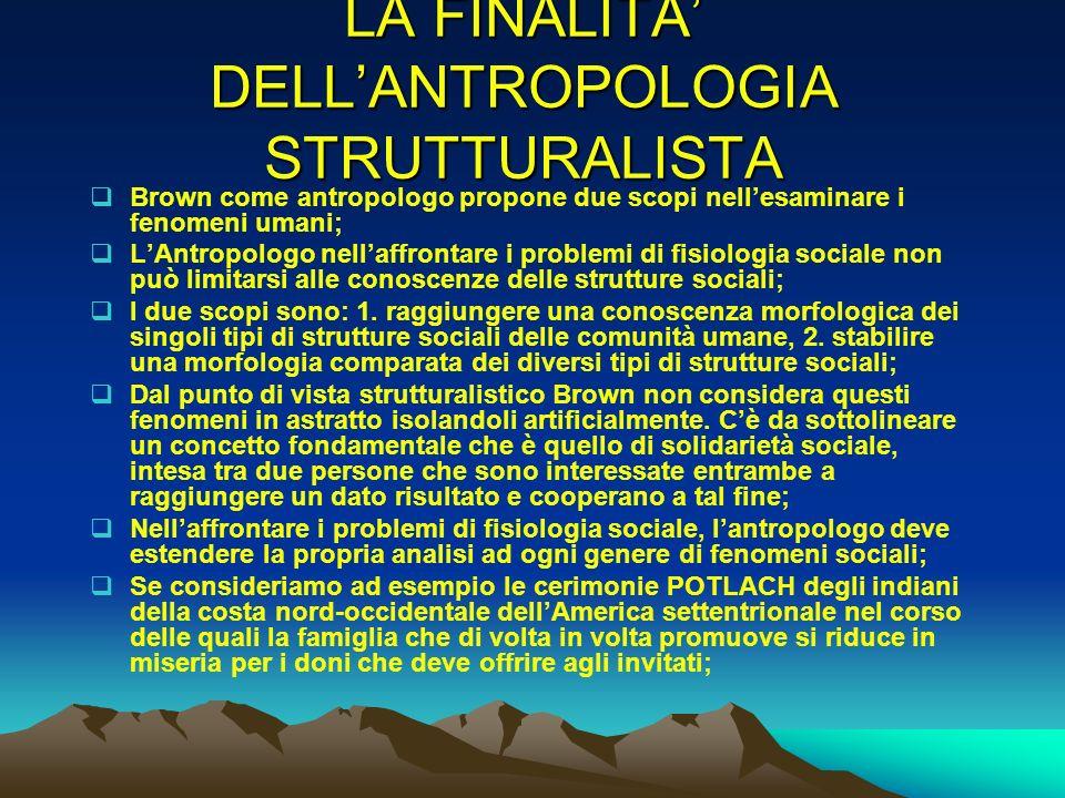 LA FINALITA' DELL'ANTROPOLOGIA STRUTTURALISTA