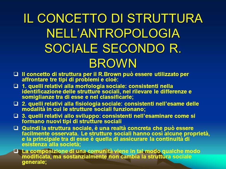 IL CONCETTO DI STRUTTURA NELL'ANTROPOLOGIA SOCIALE SECONDO R. BROWN