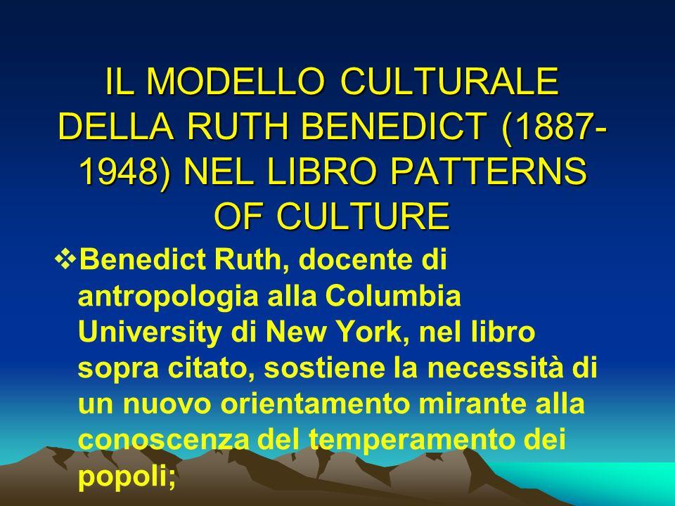 IL MODELLO CULTURALE DELLA RUTH BENEDICT (1887-1948) NEL LIBRO PATTERNS OF CULTURE