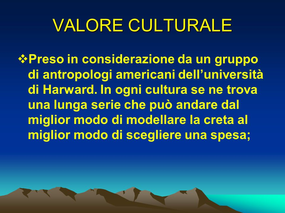 VALORE CULTURALE