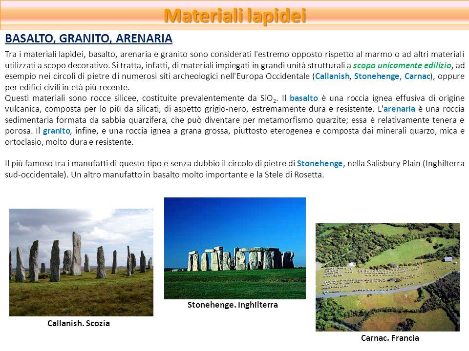 Materiali lapidei BASALTO, GRANITO, ARENARIA