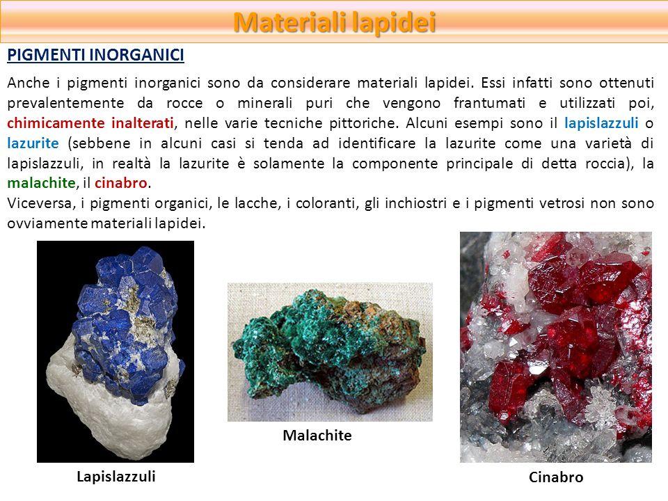 Materiali lapidei PIGMENTI INORGANICI