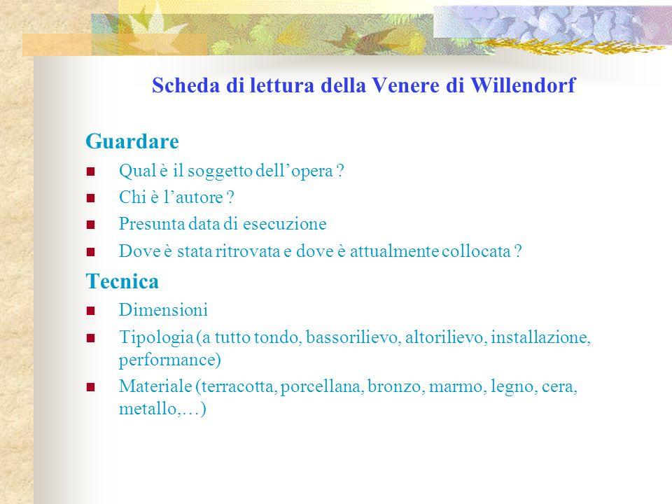 Scheda di lettura della Venere di Willendorf