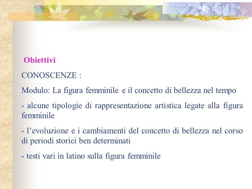 Obiettivi. CONOSCENZE : Modulo: La figura femminile e il concetto di bellezza nel tempo