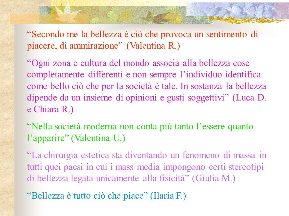 Secondo me la bellezza è ciò che provoca un sentimento di piacere, di ammirazione (Valentina R.)