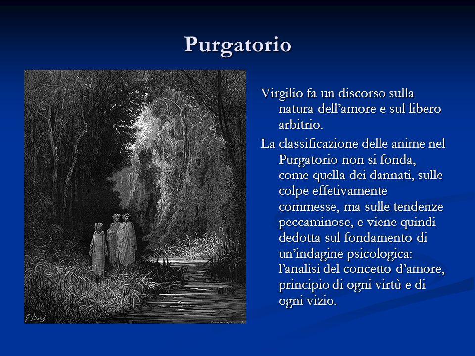 Purgatorio Virgilio fa un discorso sulla natura dell'amore e sul libero arbitrio.