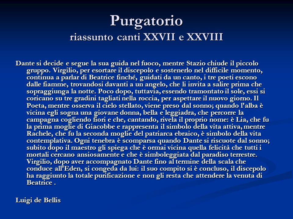 Purgatorio riassunto canti XXVII e XXVIII