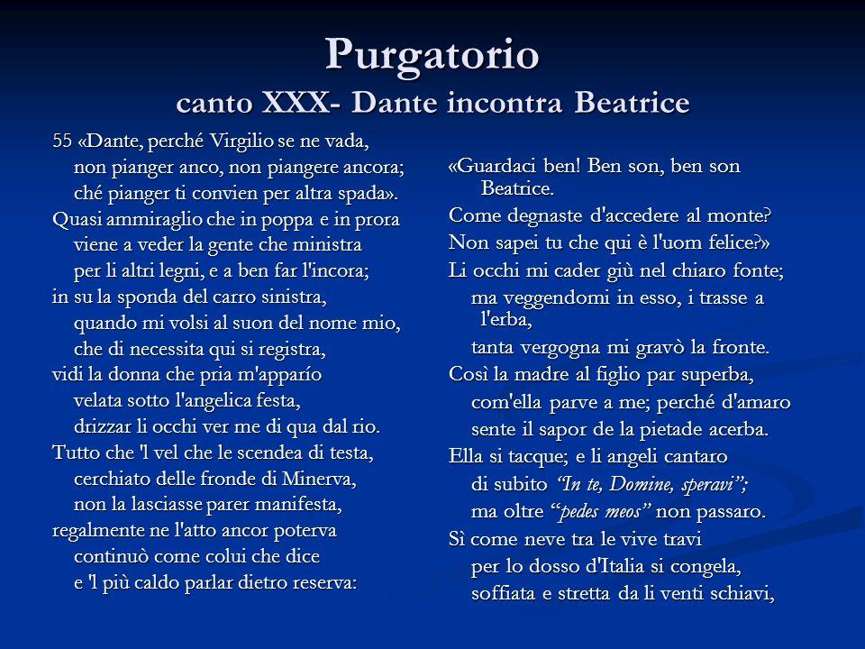 Purgatorio canto XXX- Dante incontra Beatrice