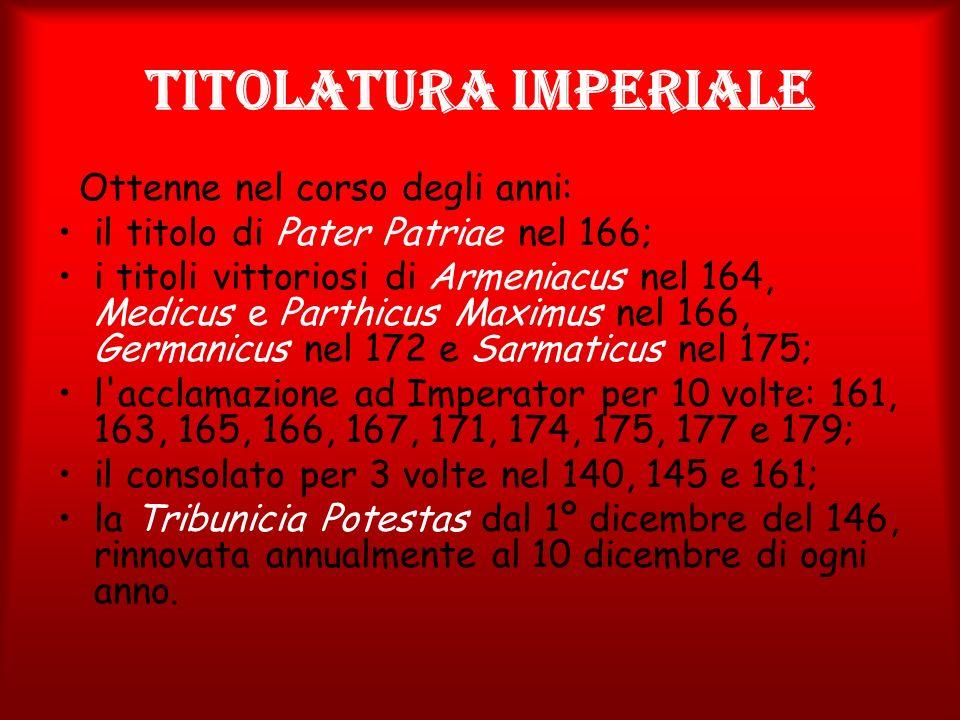 Titolatura imperiale Ottenne nel corso degli anni: