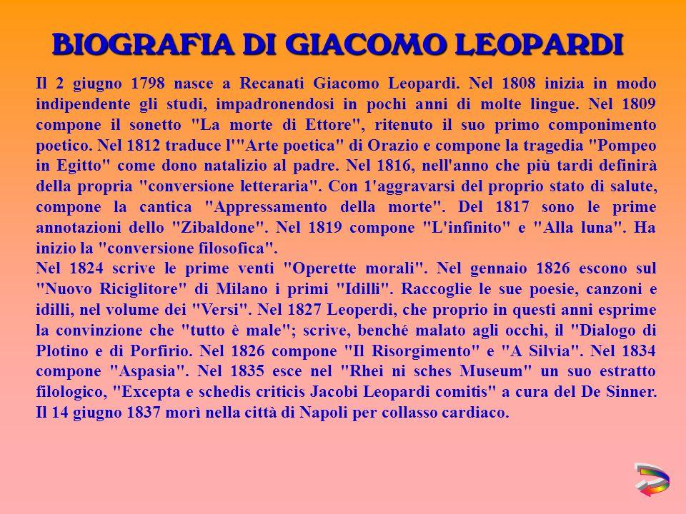 BIOGRAFIA DI GIACOMO LEOPARDI