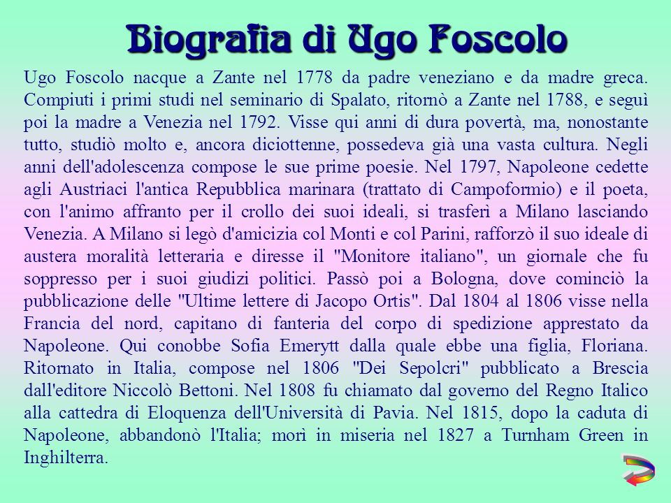 Biografia di Ugo Foscolo