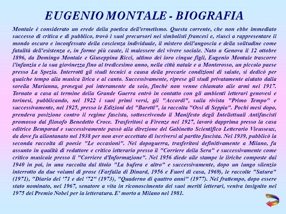 EUGENIO MONTALE - BIOGRAFIA