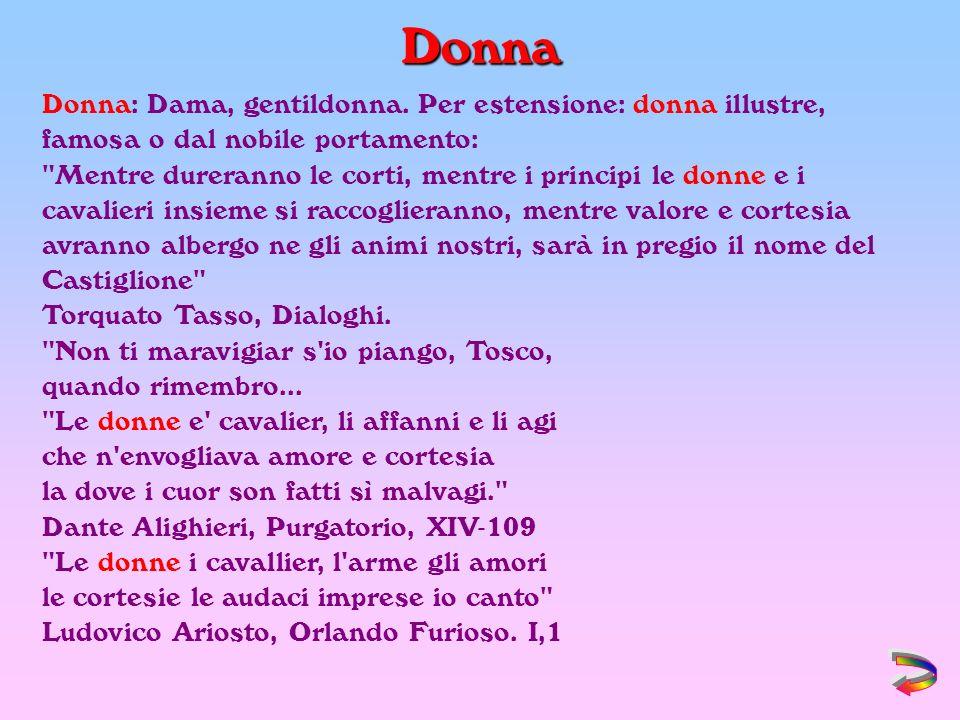 Donna Donna: Dama, gentildonna. Per estensione: donna illustre, famosa o dal nobile portamento:
