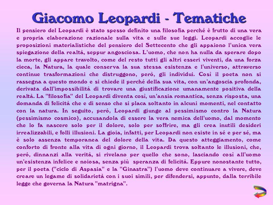 Giacomo Leopardi - Tematiche