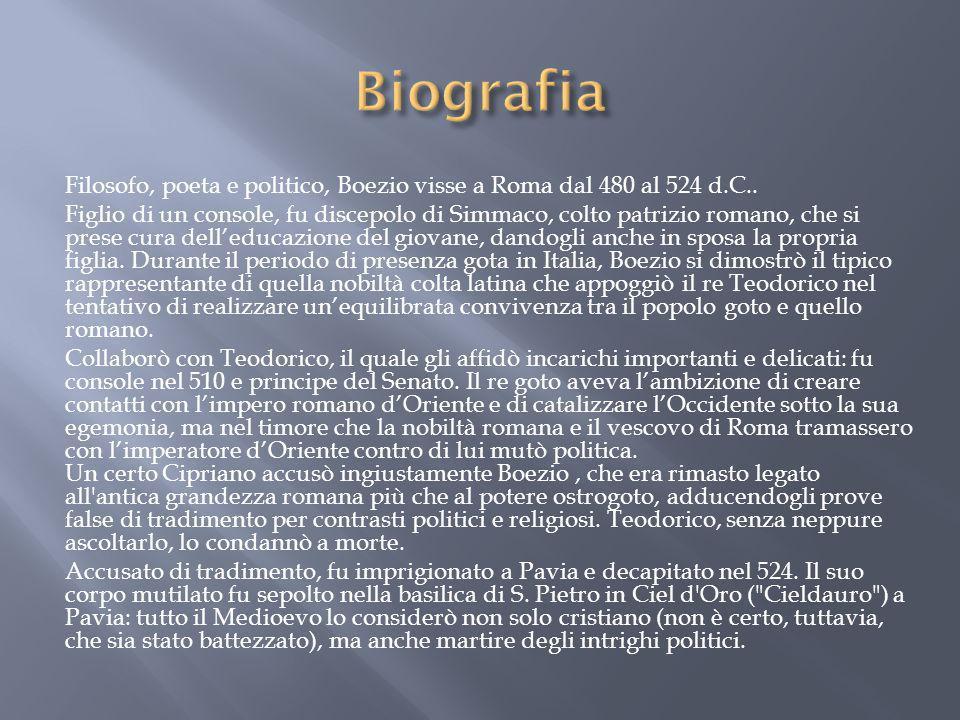 Biografia Filosofo, poeta e politico, Boezio visse a Roma dal 480 al 524 d.C..