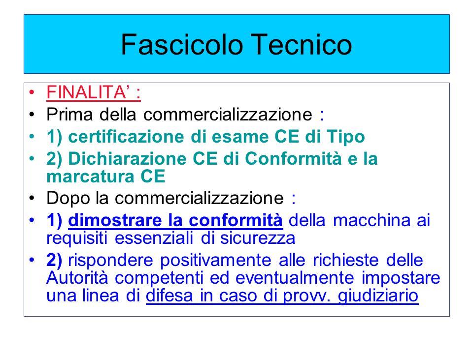 Fascicolo Tecnico FINALITA' : Prima della commercializzazione :