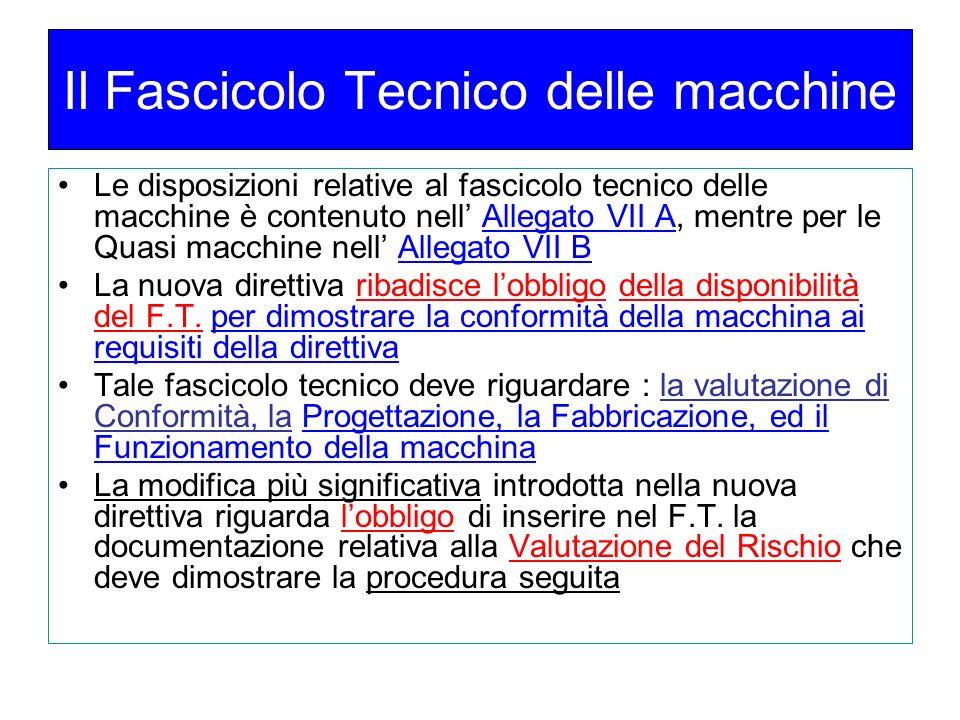 Il Fascicolo Tecnico delle macchine
