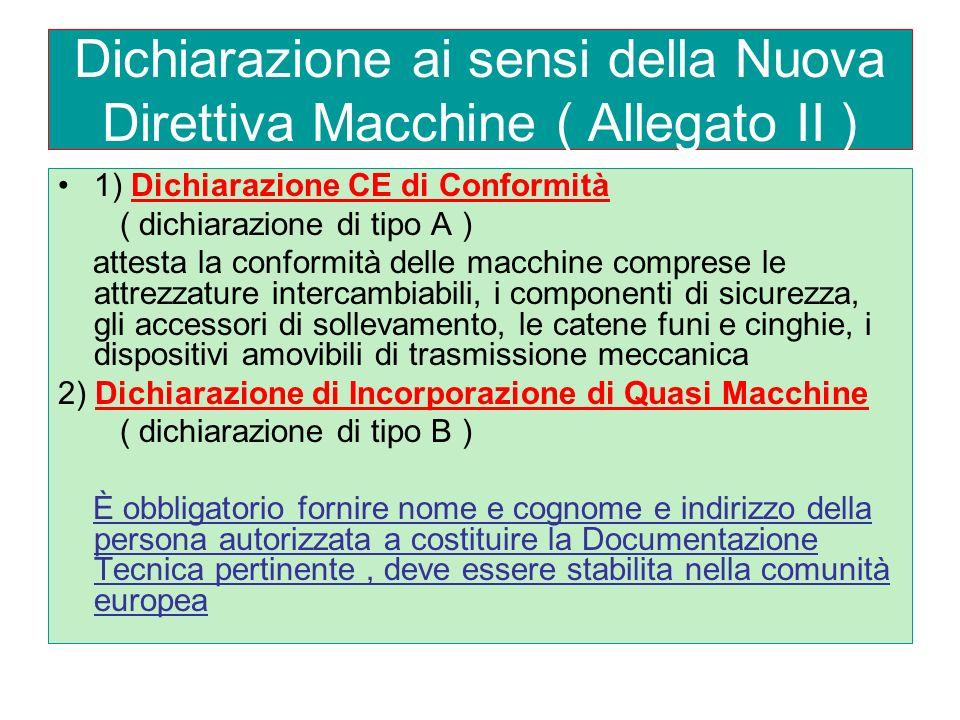 Dichiarazione ai sensi della Nuova Direttiva Macchine ( Allegato II )