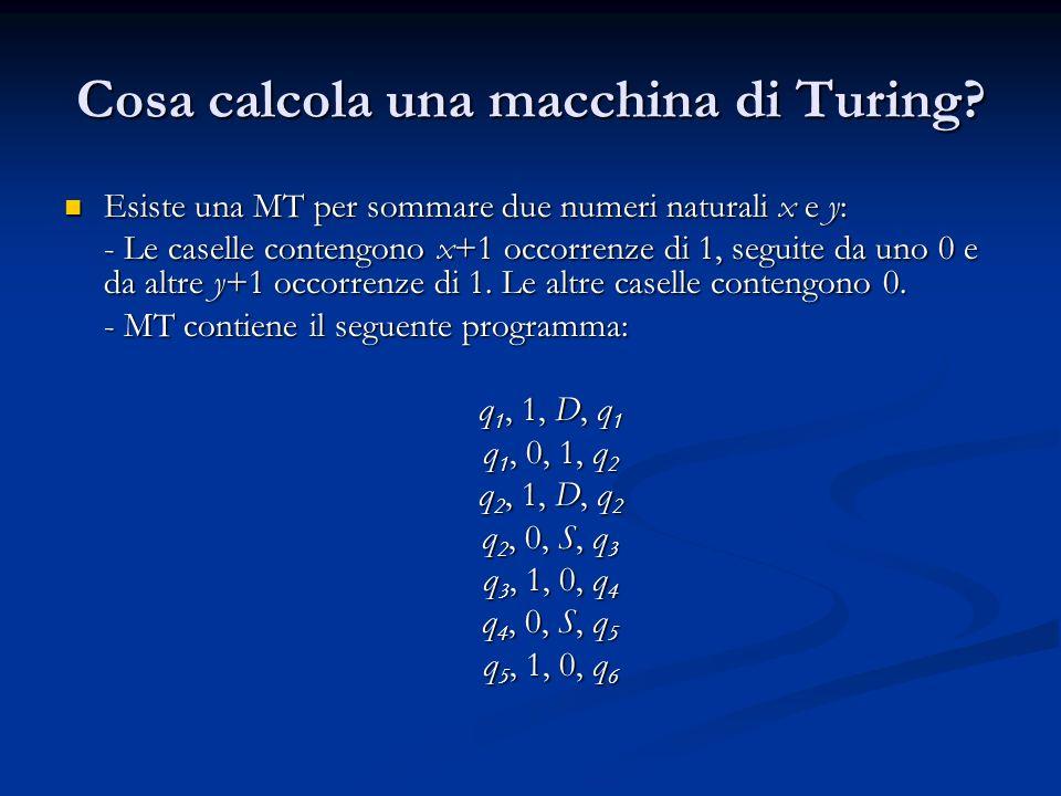 Cosa calcola una macchina di Turing