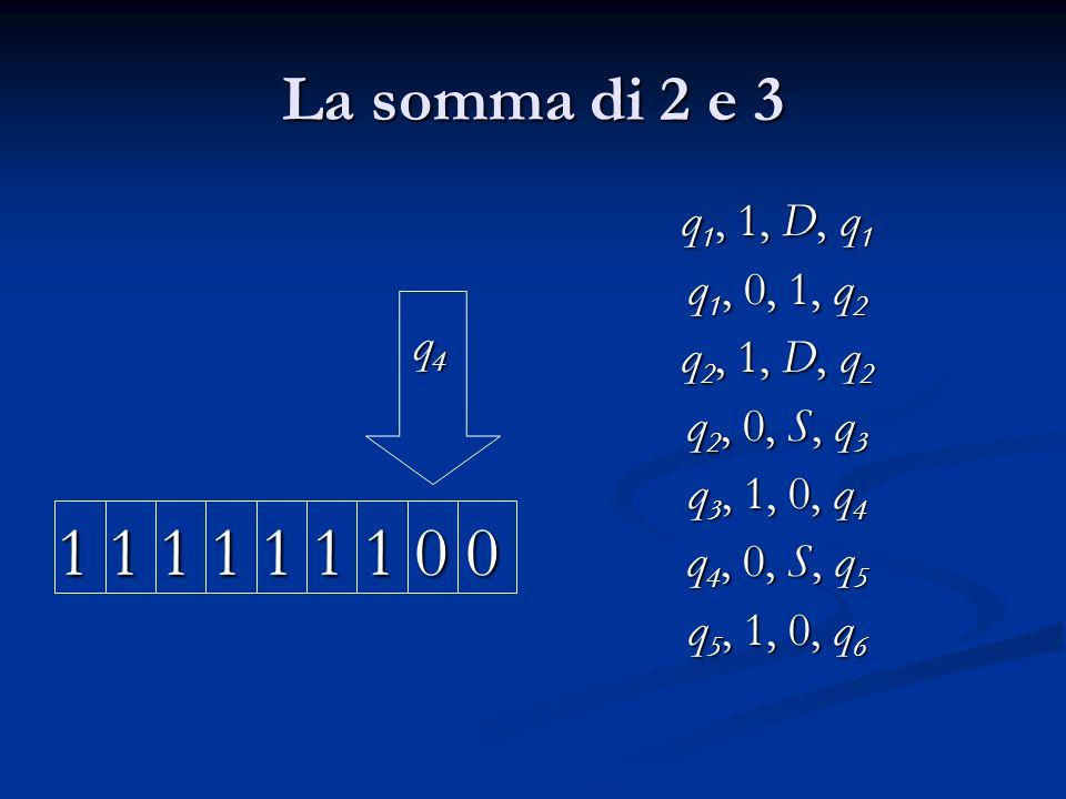 La somma di 2 e 3 q4. 1 1 1 1 1 1 1 0 0. q1, 1, D, q1. q1, 0, 1, q2. q2, 1, D, q2. q2, 0, S, q3.