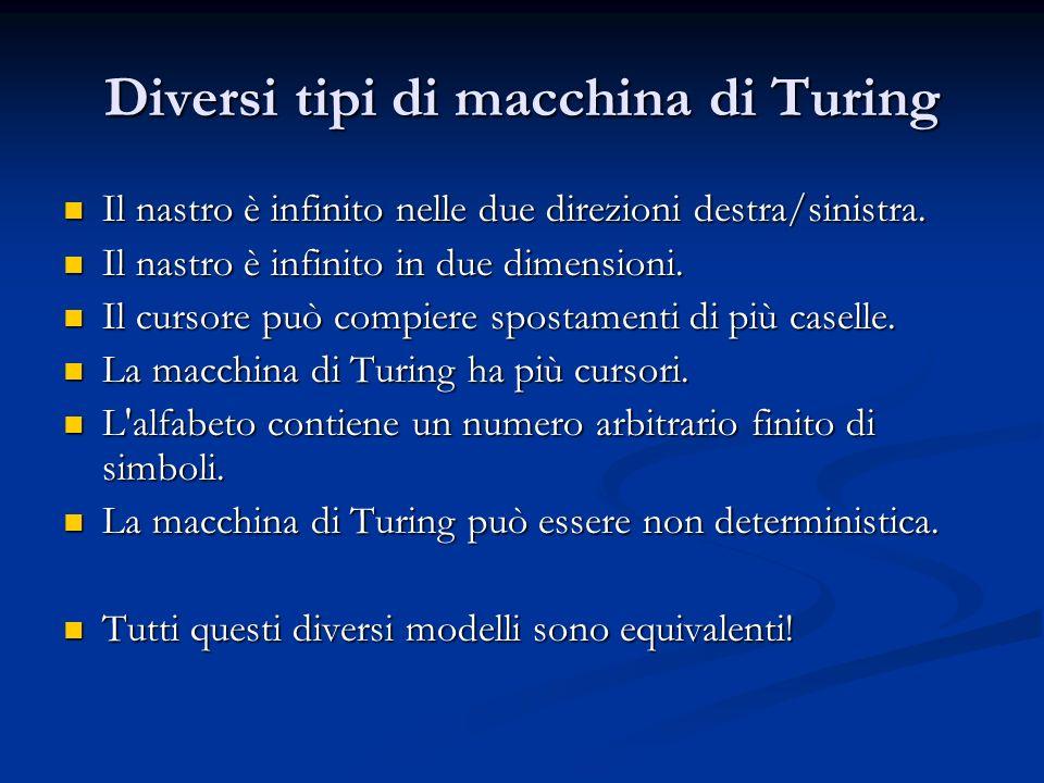 Diversi tipi di macchina di Turing