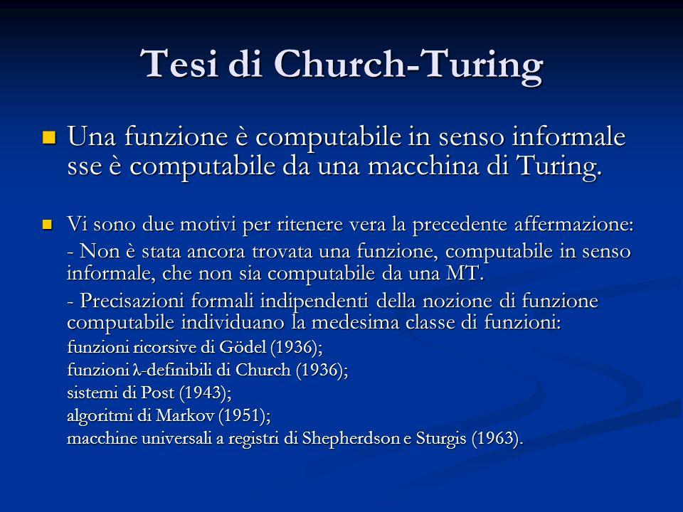 Tesi di Church-Turing Una funzione è computabile in senso informale sse è computabile da una macchina di Turing.