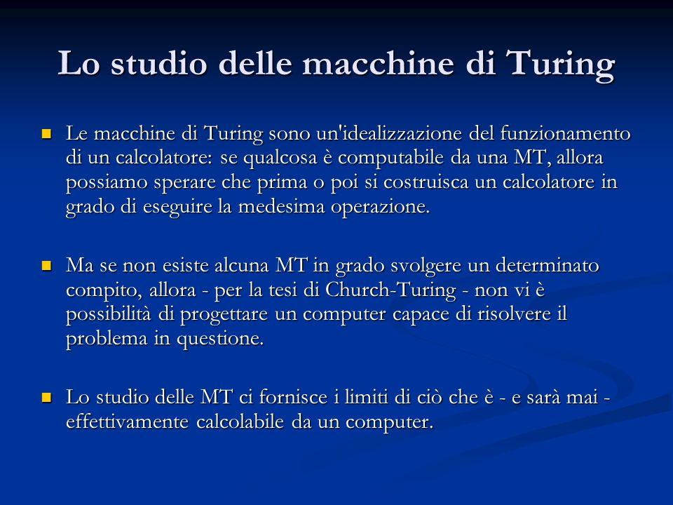 Lo studio delle macchine di Turing