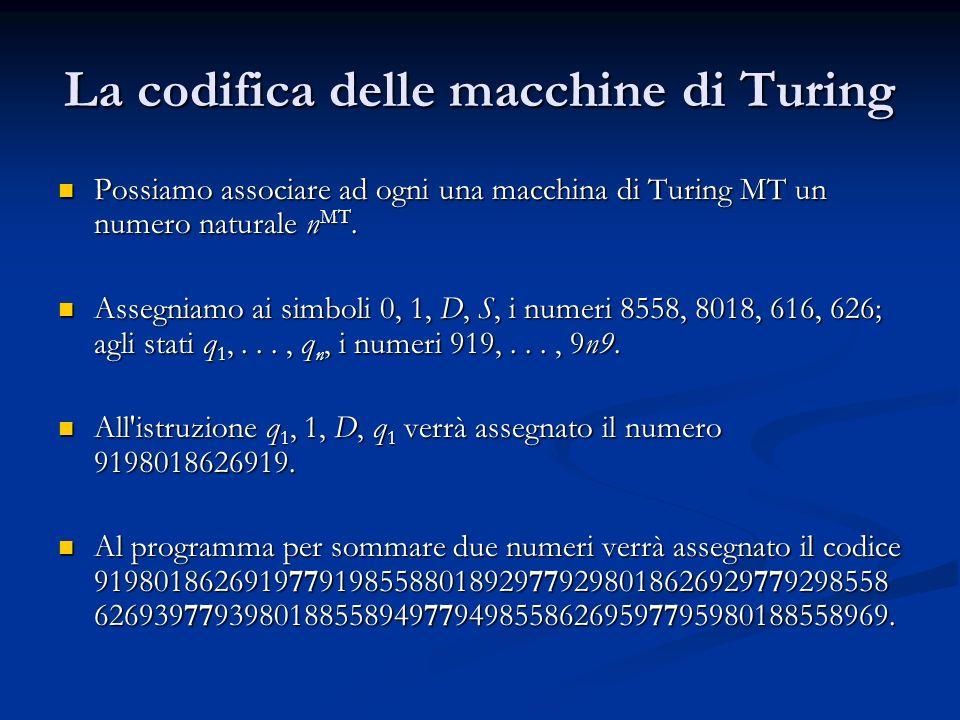 La codifica delle macchine di Turing