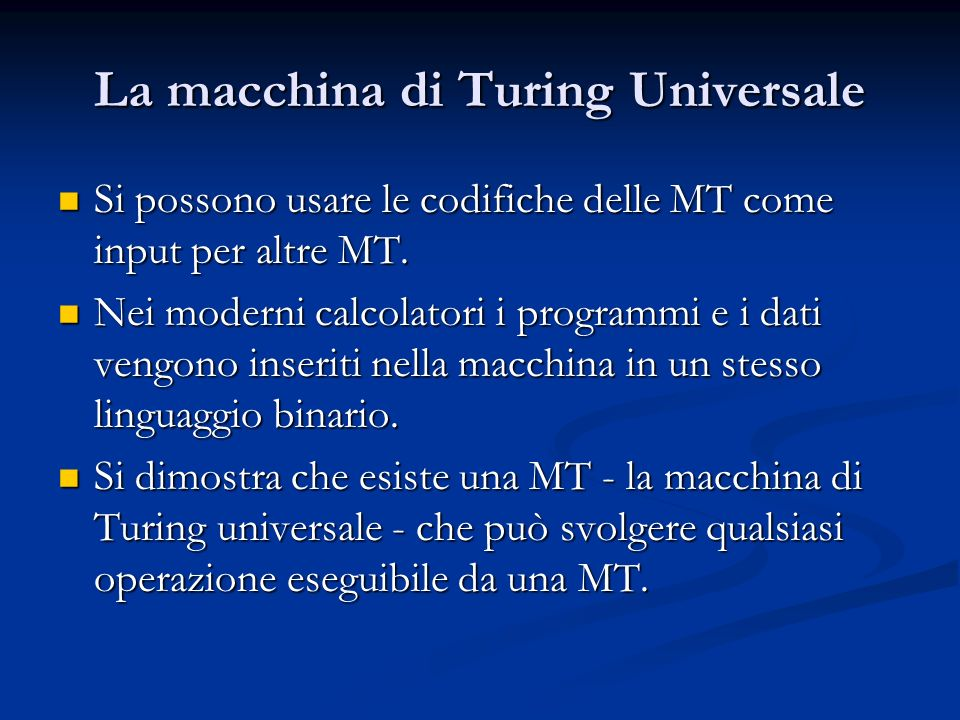 La macchina di Turing Universale