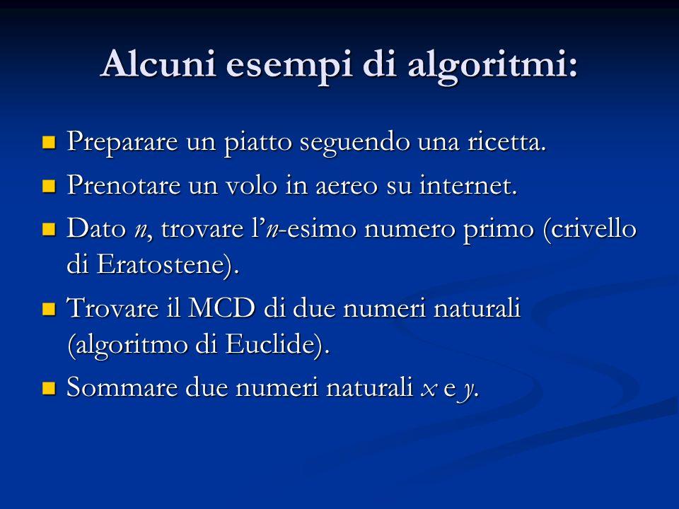 Alcuni esempi di algoritmi: