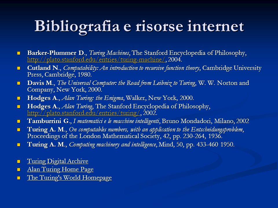 Bibliografia e risorse internet