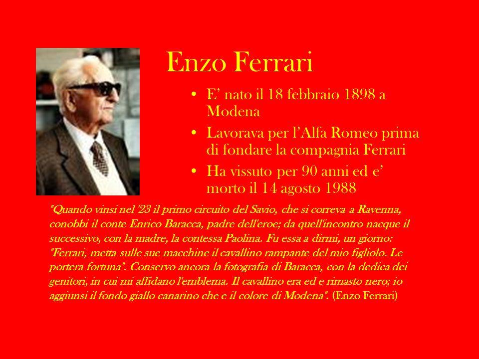 Enzo Ferrari E' nato il 18 febbraio 1898 a Modena
