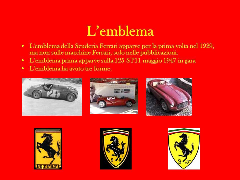 L'emblema L emblema della Scuderia Ferrari apparve per la prima volta nel 1929, ma non sulle macchine Ferrari, solo nelle pubblicazioni.